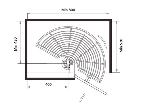 Semicircular tray for kitchen nook
